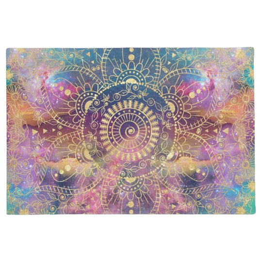 Gold watercolor and nebula mandala doormat