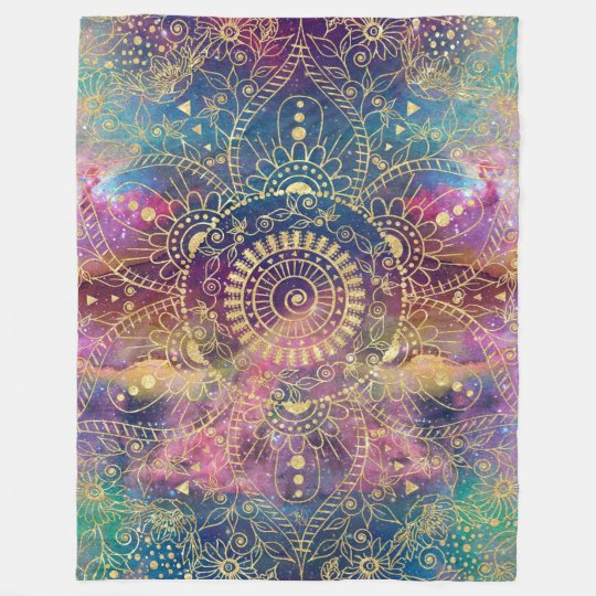 Gold watercolor and nebula mandala fleece blanket