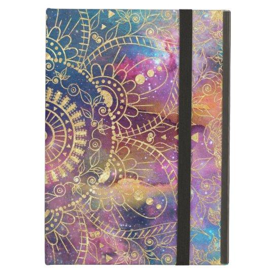 Gold watercolor and nebula mandala iPad air case
