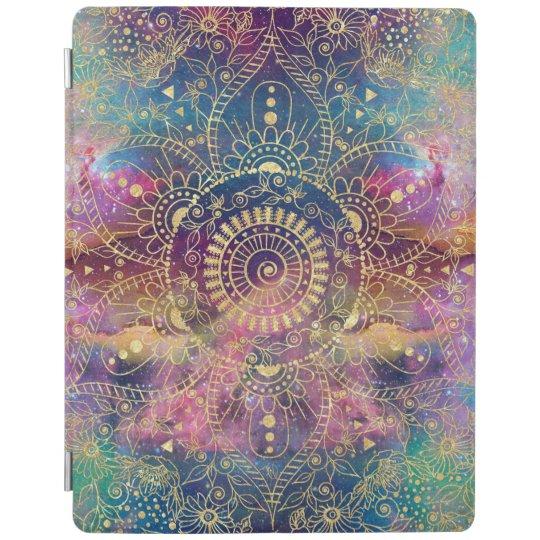 Gold watercolor and nebula mandala iPad cover