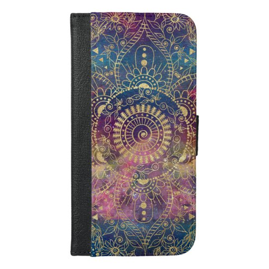 Gold watercolor and nebula mandala iPhone 6/6s plus wallet case