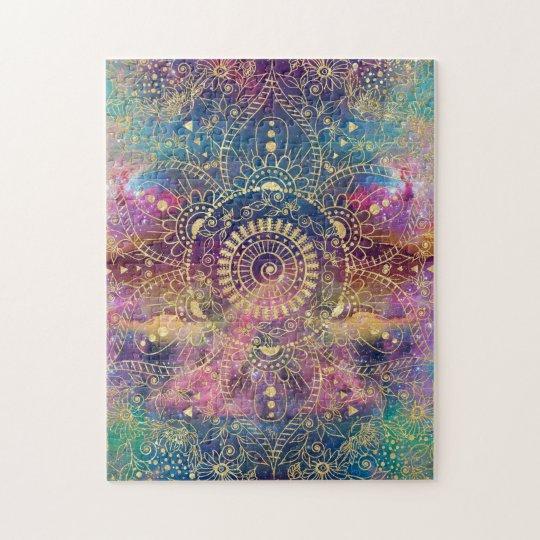 Gold watercolor and nebula mandala jigsaw puzzle