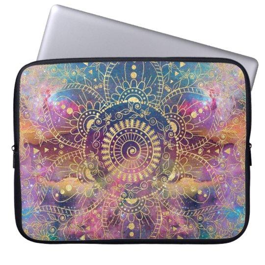 Gold watercolor and nebula mandala laptop sleeve