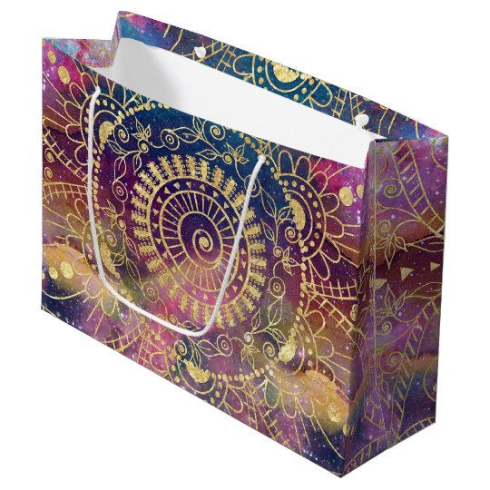 Gold watercolor and nebula mandala large gift bag