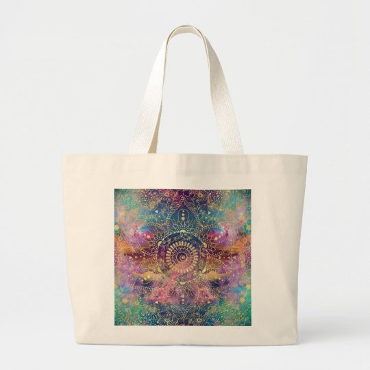Gold watercolor and nebula mandala large tote bag