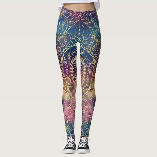 Gold watercolor and nebula mandala leggings