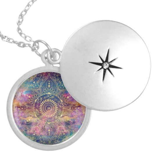 Gold watercolor and nebula mandala locket necklace