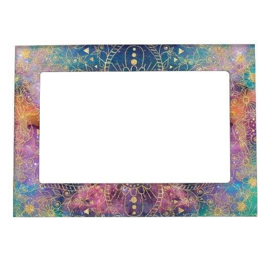 Gold watercolor and nebula mandala magnetic frame