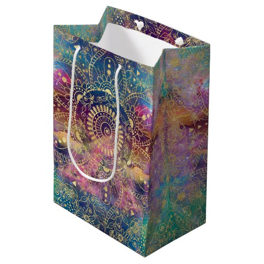 Gold watercolor and nebula mandala medium gift bag