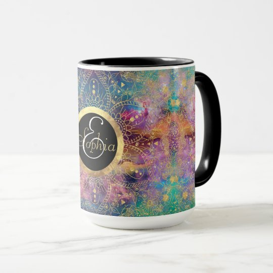 Gold watercolor and nebula mandala mug