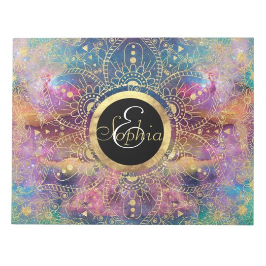 Gold watercolor and nebula mandala notepad