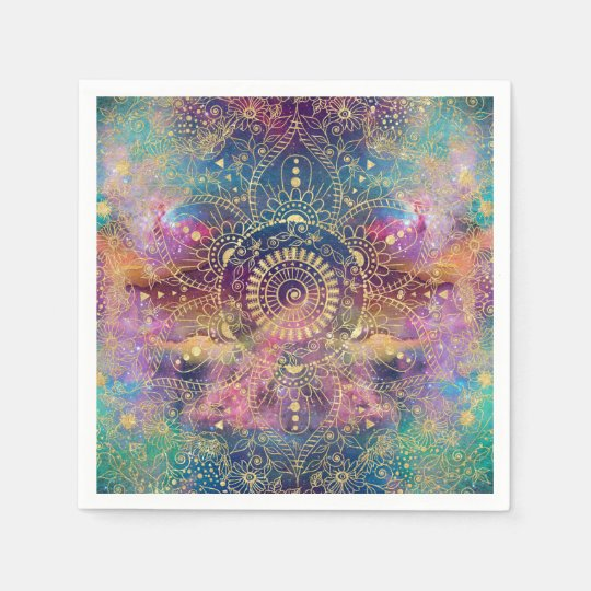 Gold watercolor and nebula mandala paper napkins