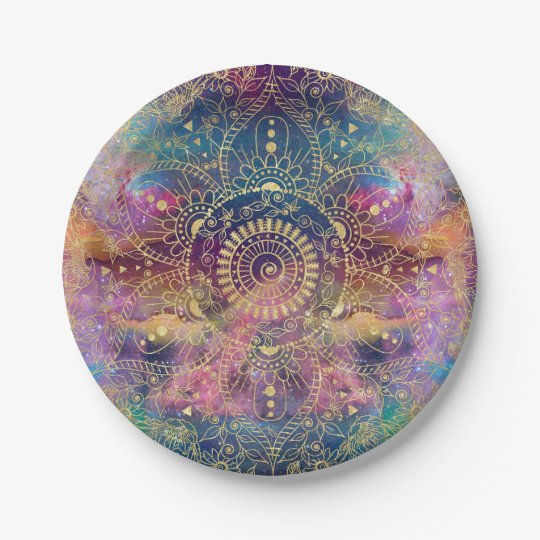 Gold watercolor and nebula mandala paper plate