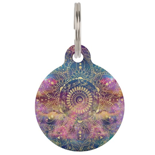 Gold watercolor and nebula mandala pet tag