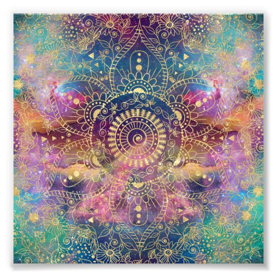Gold watercolor and nebula mandala photo print