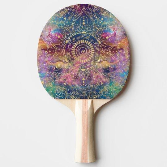 Gold watercolor and nebula mandala ping pong paddle