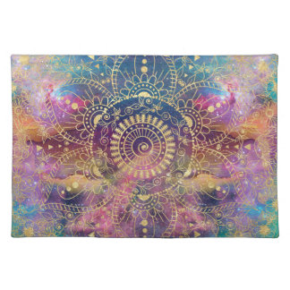 Gold watercolor and nebula mandala placemat