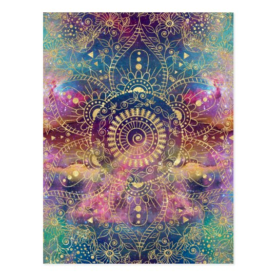 Gold watercolor and nebula mandala postcard
