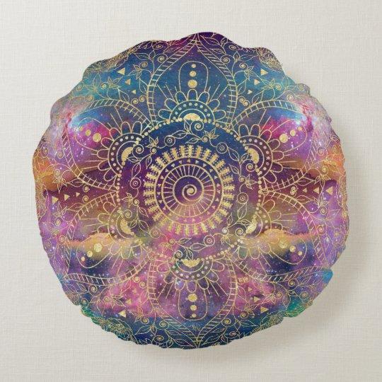 Gold watercolor and nebula mandala round pillow
