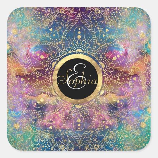 Gold watercolor and nebula mandala square sticker
