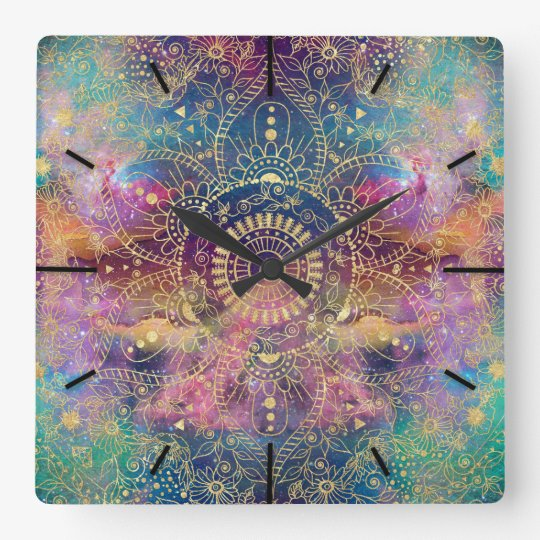 Gold watercolor and nebula mandala square wall clock