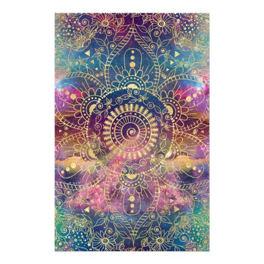 Gold watercolor and nebula mandala stationery