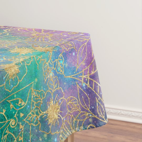 Gold watercolor and nebula mandala tablecloth
