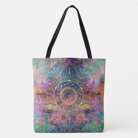 Gold watercolor and nebula mandala tote bag