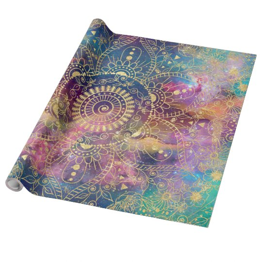 Gold watercolor and nebula mandala wrapping paper