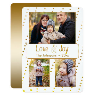 Gold Watercolor Beading Holiday Photo Card