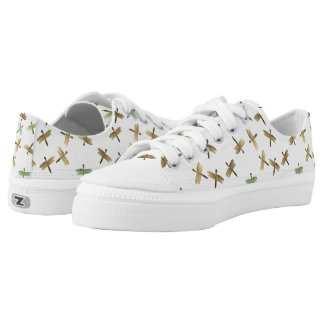 Gold Watercolor Dragonflies Low-Top Sneakers