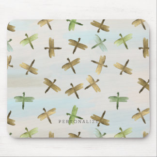 Gold Watercolor Dragonflies Mouse Pad