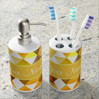 Gold Watercolor Geometric Triangles Bathroom Set