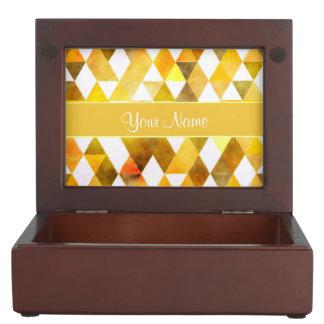 Gold Watercolor Geometric Triangles Keepsake Box
