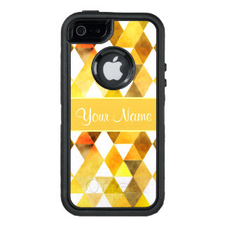 Gold Watercolor Geometric Triangles OtterBox Defender iPhone Case