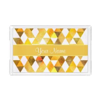 Gold Watercolor Geometric Triangles Perfume Tray