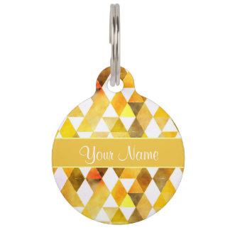 Gold Watercolor Geometric Triangles Pet ID Tag