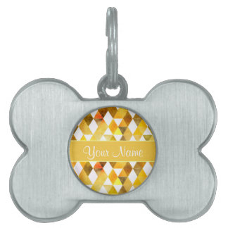 Gold Watercolor Geometric Triangles Pet Name Tag