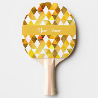 Gold Watercolor Geometric Triangles Ping Pong Paddle