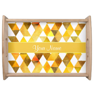 Gold Watercolor Geometric Triangles Serving Tray