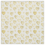 Gold Watercolor Hearts Fabric