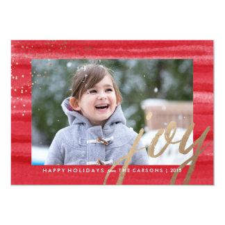Gold & Watercolor Joy Christmas Holiday Photo Card