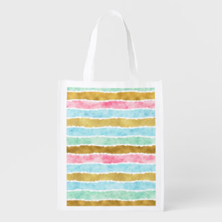 Gold Watercolor Stripes Reusable Grocery Bag