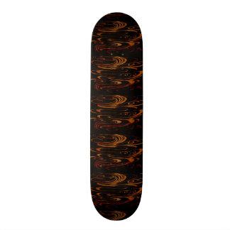 Gold Waves On Black Skate Board Deck