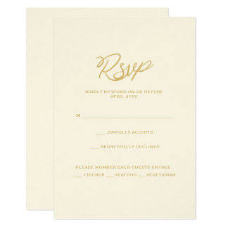 Gold We Do Script Wedding Reception Menu RSVP Card