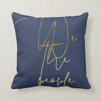 Gold We the people Throw Pillow