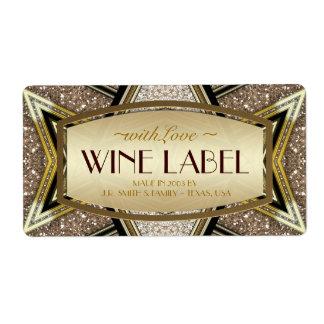 Gold Wedding Art Deco Glam Wine Labels
