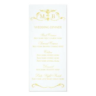 Gold wedding dinner menu template card