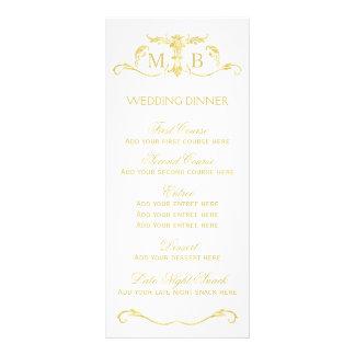 Gold wedding dinner menu template set rack cards