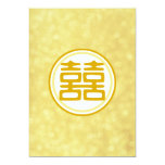 """Gold Wedding • Double Happiness • Round 5"""" X 7"""" Invitation Card"""
